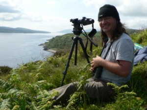 Simon Pinder surveying birds near Bunnahabhain